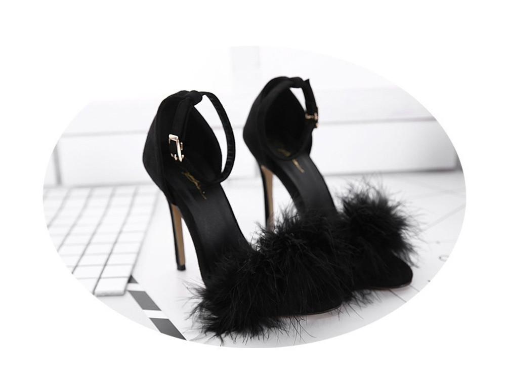 Clueless Fluffy Heels Black