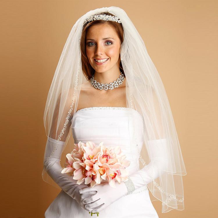 Bridal Veil with Pearls, Swarovski Crystals, Seeds & Threaded Chain