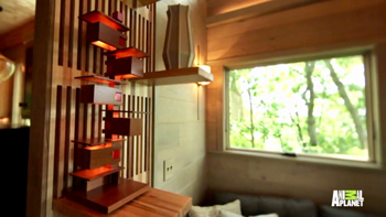 Frank Lloyd Wright inspired tree house showing the Taliesin 3 table lamp