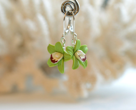 Green Cymbidium Orchid Simple Dangle Earrings