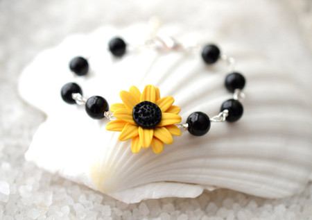 Andrea Link Bracelet in Golden Yellow Sunflower with Pearls or Black Beads