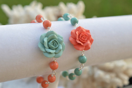 Lauren Link Bracelet in Dusty Mint and Coral Rose