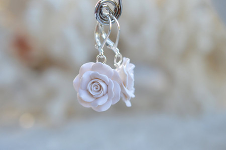 White Rose Simple Dangle Earrings