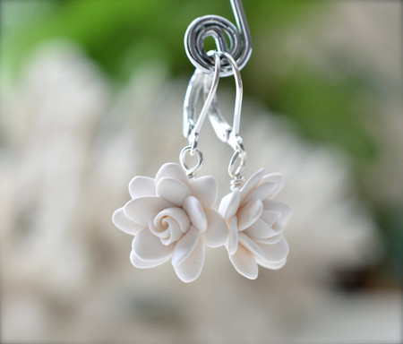 White Gardenia Simple Dangle Earrings.