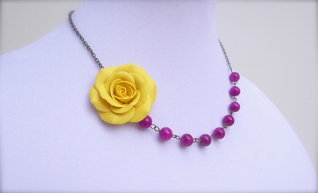 Leah Asymmetrical Necklace in Golden Yellow Rose with Purple orchid Jade. FREE EARRINGS