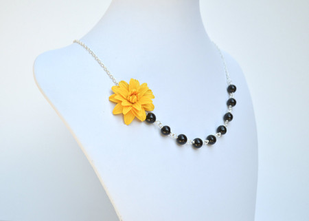Leah Asymmetrical Necklace in Golden Yellow Dahlia with Black Beads. FREE EARRINGS