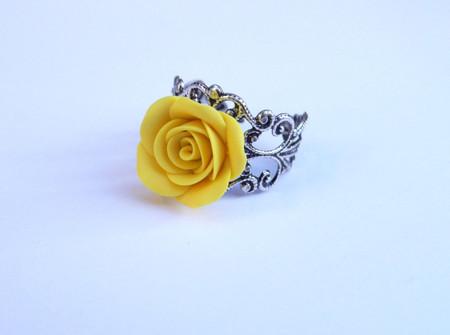Golden Yellow Rose Ring