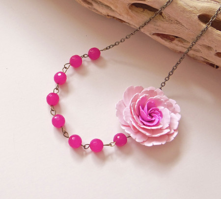 Leah Asymmetrical Necklace in Pink Peony with Hot Pink Stones. FREE EARRINGS