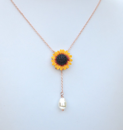 LUNA Y Drop Necklace in Red Yellow Sunflower