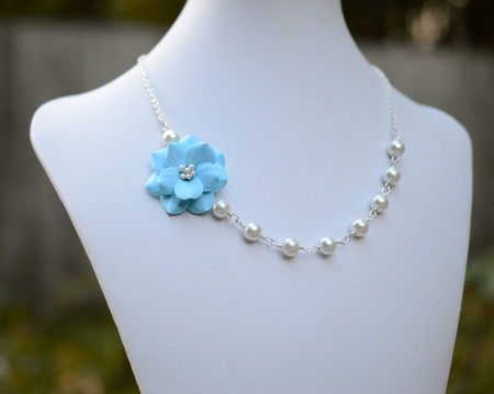 Brenda Asymmetrical Necklace in  Aqua Blue Garden Rose. FREE EARRINGS