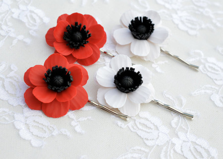 Red or White Anemone/Poppy Hair clip. Set of 2