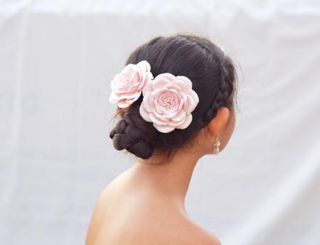 Aurora Hair Clip in Pastel Blush Rose (LARGE) .Set of 2