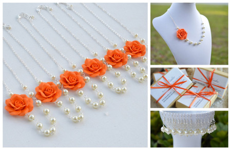 Alysson Asymmetrical Necklace in Orange Rose. FREE EARRINGS