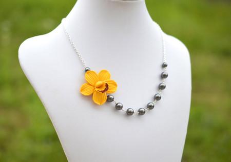Brenda Asymmetrical in Golden Yellow Cymbidium Orchid. FREE EARRINGS