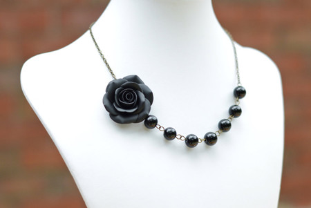 Jessica Asymmetrical Necklace in Black Rose with Black Beads. FREE EARRINGS