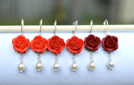 Tamara Statement Earrings in Red Rose.