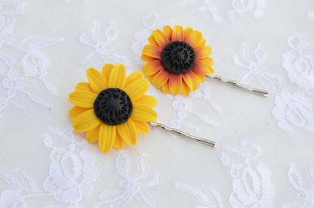 Yellow or Deep Red-Yellow Sunflower Hair Clip (1 pcs only)