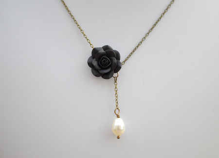 Alexa Drop Necklace in Black Rose with Tear Drop Pearl