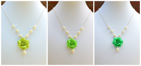 Hannah Centered Necklace in Green Rose with Pearls ( Light-Apple-Kelly Green)