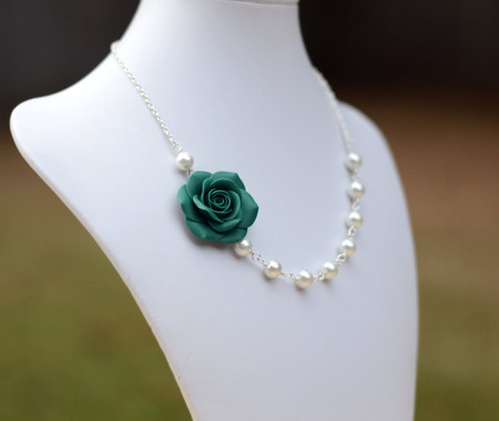 Jessica Asymmetrical Necklace in Peacock Green Rose. FREE EARRINGS