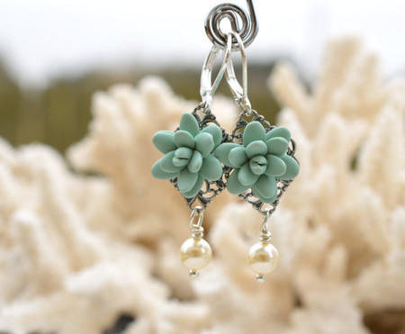 Richelle Statement Earrings in Dusty Mint Succulent