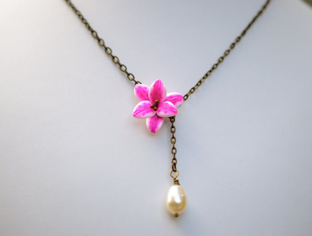 Helena Drop Necklace in Pink Stargazer Lily with Pearl