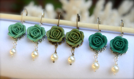 Tamara Stetement Earrings in Turquoise, Sage, Peacock Green Rose