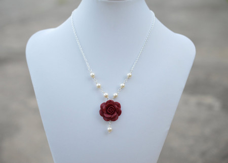 Hannah Centered Necklace in Red Garnet Rose with Pearls