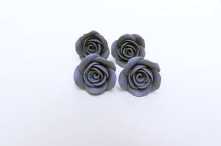 Grey or Light Grey Rose Stud Earrings