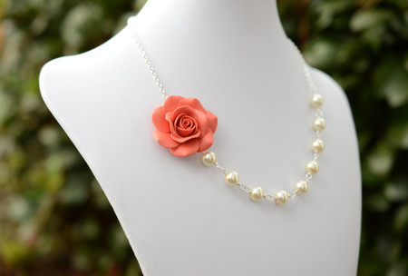 Jessica Asymmetrical Necklace in Coral Rose. FREE EARRINGS