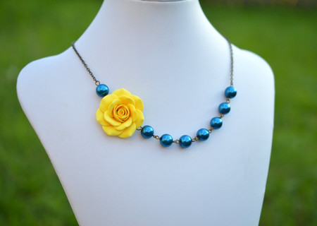 Olivia Asymmetrical Necklace in Sunshine Yellow with Teal Blue Pearls. FREE EARRINGS