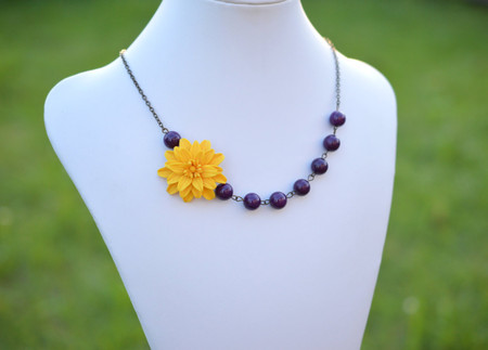 Brooklyn Asymmetrical Necklace in Golden Yellow Dahlia with Purple Jade. FREE EARRINGS