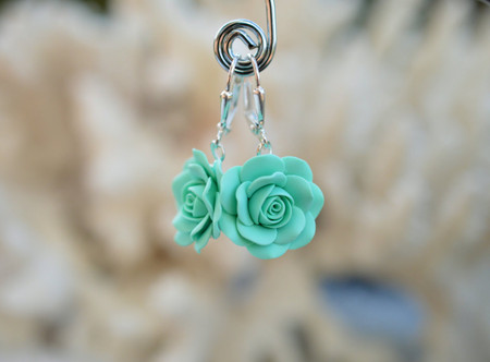 Mint Green Rose Simple Dangle Earrings