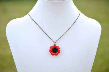 Red Poppy/Anemone Simple Drop Necklace
