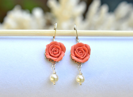 Tamara Statement Earrings in Coral Rose.