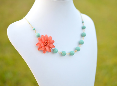 Kayla Asymmetrical Necklace in Coral Dahlia and Green Jade Swarovski Pearls. FREE EARRINGS