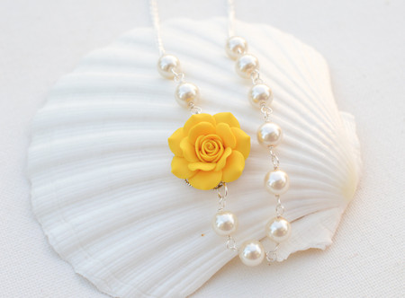 Alice Asymmetrical Necklace in Golden Yellow Rose. FREE EARRINGS