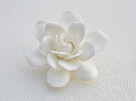 Gardenia Hair Clip in White. LARGE