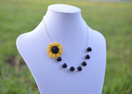 Brooklyn Asymmetrical Necklace in Golden Yellow Sunflower with Black Beads. FREE EARRINGS
