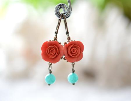 Tamara Statement Earrings in Coral orange Rose and Blue Stones