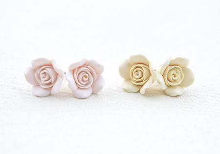 Ivory or White Rose Stud Earrings