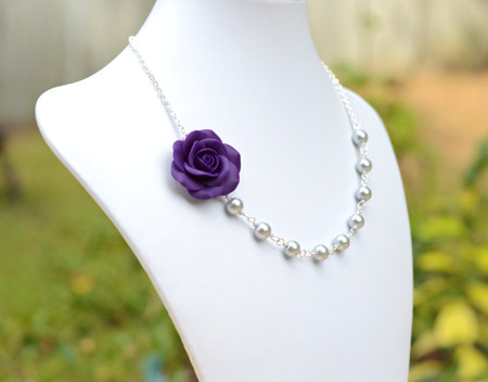Jessica Asymmetrical Necklace in Deep Purple with Light Grey Pearls. FREE EARRINGS