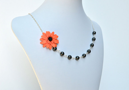 Leah Asymmetrical Necklace in Orange Gerbera Daisy with Black Beads. FREE EARRINGS