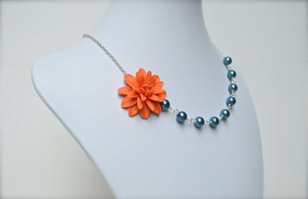 Leah Asymmetrical Necklace in Orange Dahlia with Teal Blue Pearls. FREE EARRINGS
