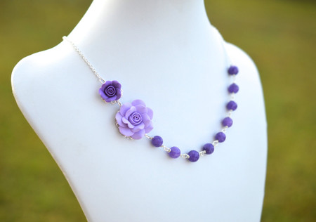 Jayden Double Flowers Asymmetrical Necklace in Purple Rose and Purple Stones. FREE EARRINGS