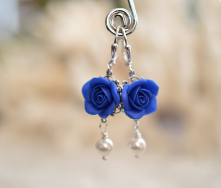Tamara Statement Earrings in Royal Blue Rose