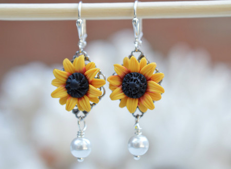 Richelle Statement Earrings  Deep Red and Yellow Sunflower