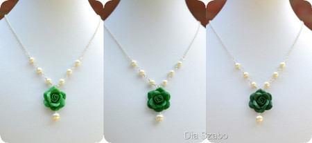 Hannah Centered Necklace in Green Rose with Pearls (Emerald-Evergreen-Dark Teal)
