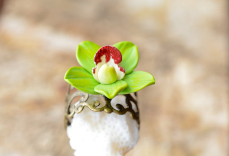 Green Cymbidium Orchid Ring