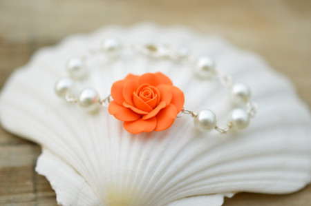 Aaliyah Link Bracelet in Orange Rose with Pearls